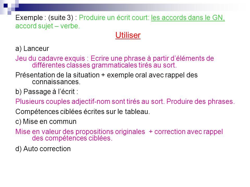 Exemple : (suite 3) : Produire un écrit court: les accords dans le GN, accord sujet – verbe.