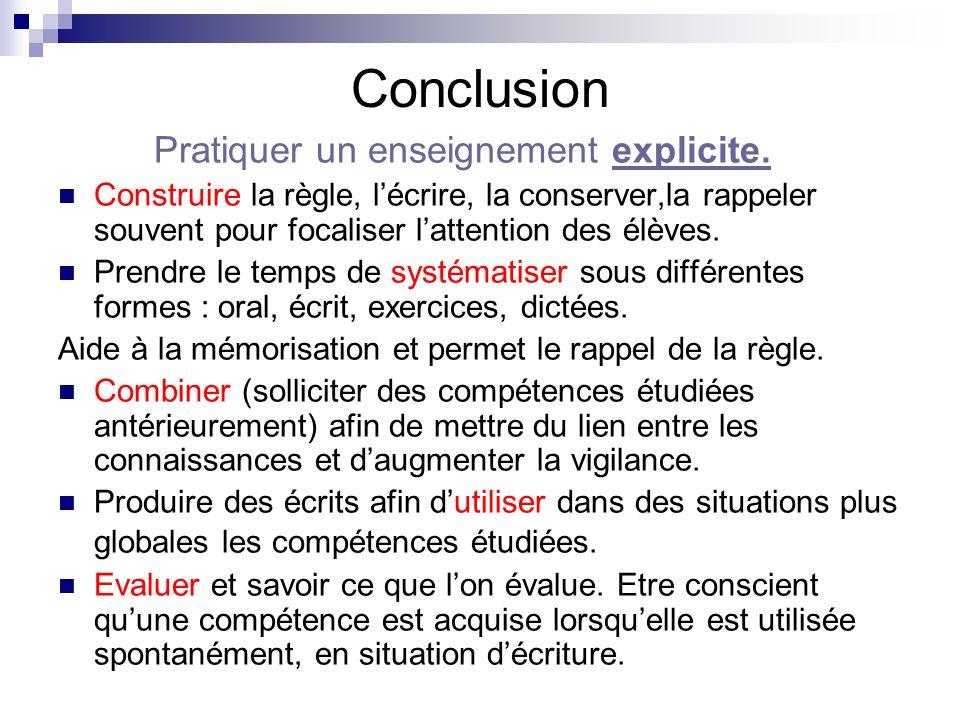 Conclusion Pratiquer un enseignement explicite.