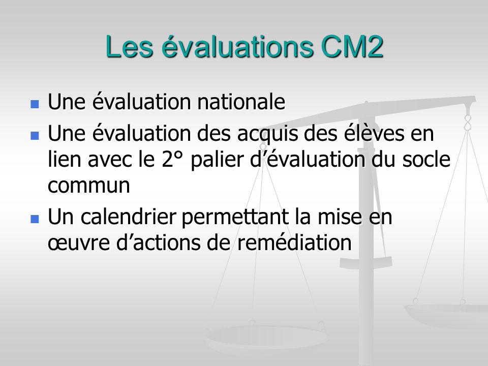 Les évaluations CM2 Une évaluation nationale Une évaluation nationale Une évaluation des acquis des élèves en lien avec le 2° palier dévaluation du so