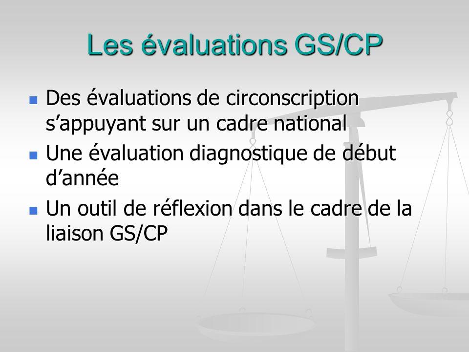 Les évaluations GS/CP Des évaluations de circonscription sappuyant sur un cadre national Des évaluations de circonscription sappuyant sur un cadre nat