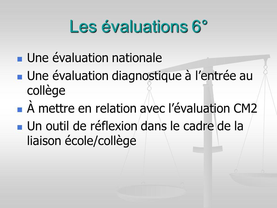 Les évaluations 6° Une évaluation nationale Une évaluation nationale Une évaluation diagnostique à lentrée au collège Une évaluation diagnostique à le