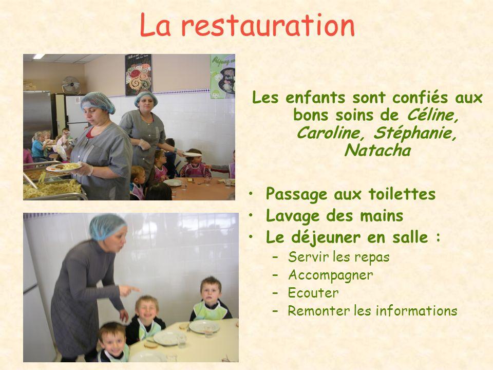 La restauration Les enfants sont confiés aux bons soins de Céline, Caroline, Stéphanie, Natacha Passage aux toilettes Lavage des mains Le déjeuner en
