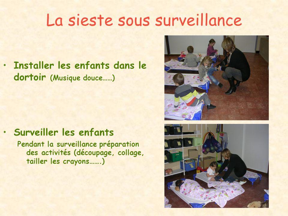 La sieste sous surveillance Installer les enfants dans le dortoir (Musique douce……) Surveiller les enfants Pendant la surveillance préparation des act