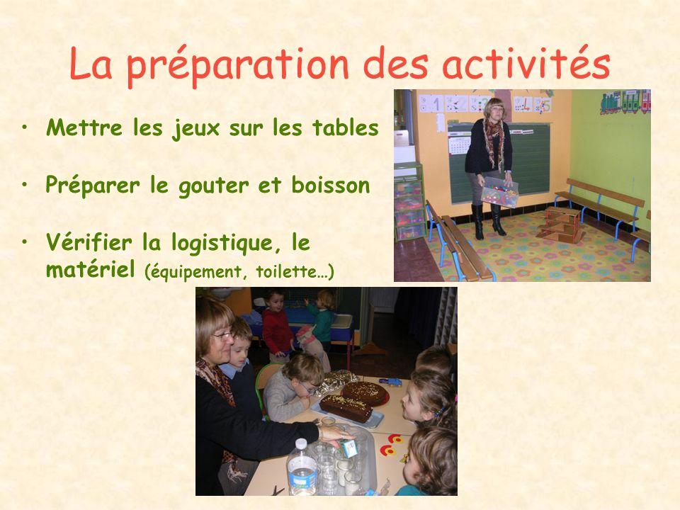 La préparation des activités Mettre les jeux sur les tables Préparer le gouter et boisson Vérifier la logistique, le matériel (équipement, toilette…)