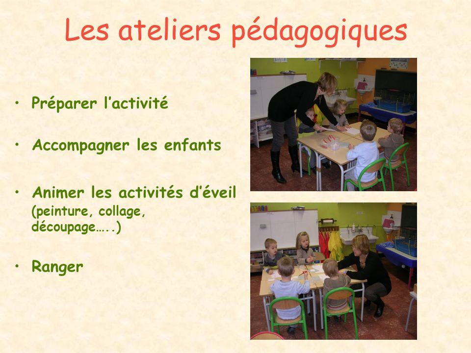 Les ateliers pédagogiques Préparer lactivité Accompagner les enfants Animer les activités déveil (peinture, collage, découpage…..) Ranger