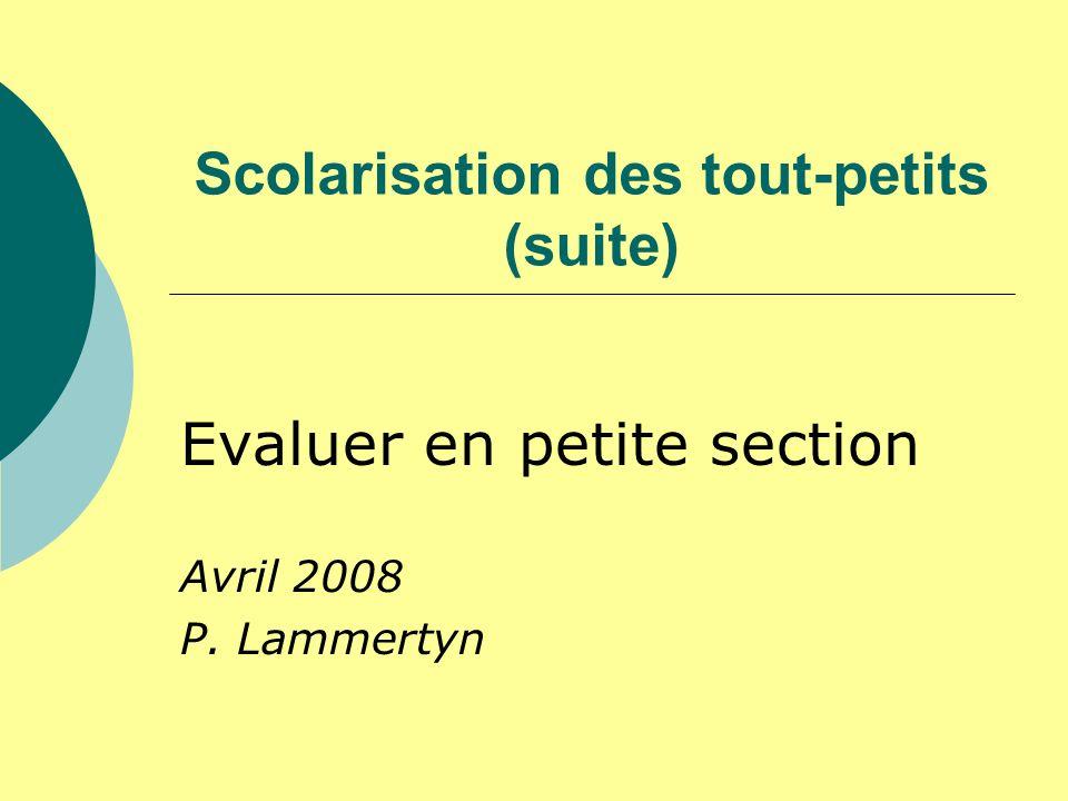 Scolarisation des tout-petits (suite) Evaluer en petite section Avril 2008 P. Lammertyn