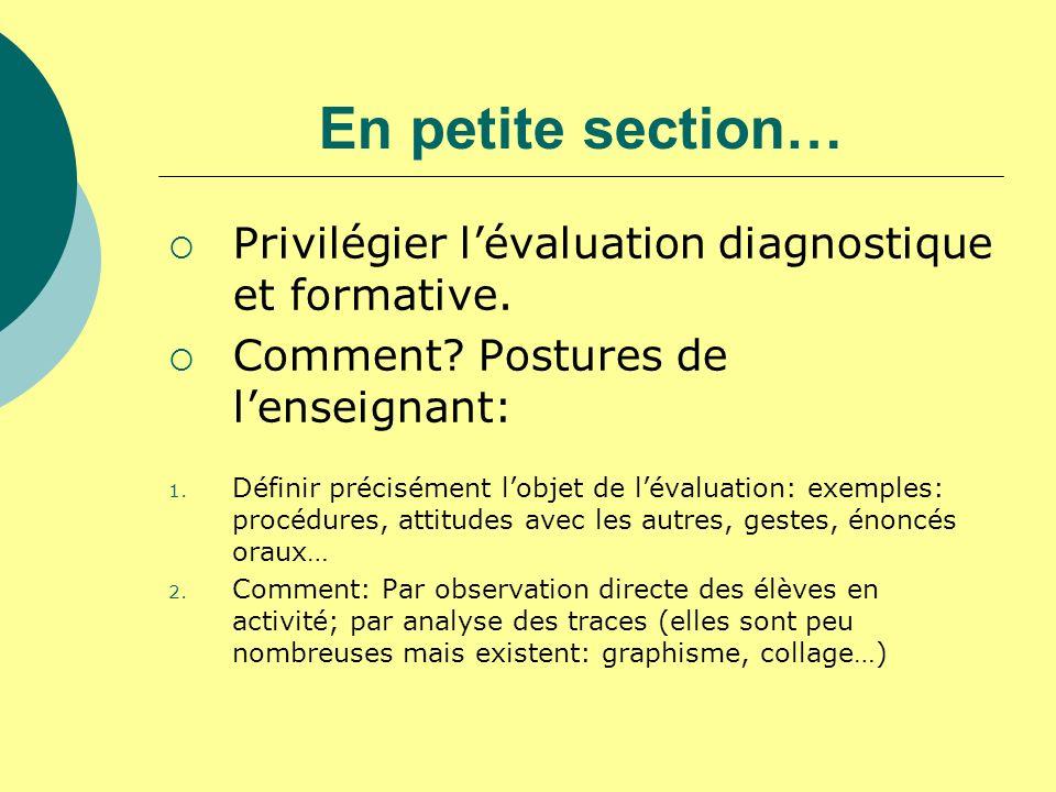 En petite section… Privilégier lévaluation diagnostique et formative. Comment? Postures de lenseignant: 1. Définir précisément lobjet de lévaluation: