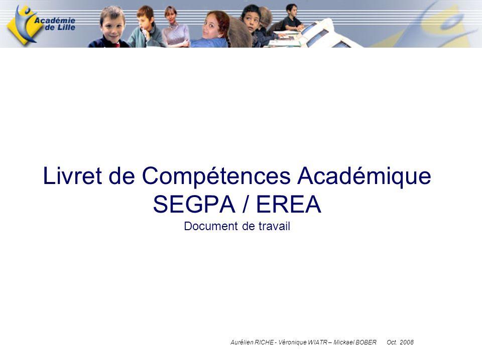 Livret de Compétences Académique SEGPA / EREA Document de travail Aurélien RICHE - Véronique WIATR – Mickael BOBER Oct. 2008