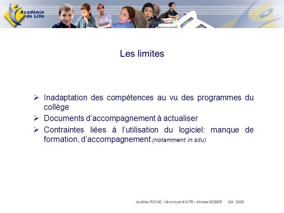Inadaptation des compétences au vu des programmes du collège Documents daccompagnement à actualiser Contraintes liées à lutilisation du logiciel: manq