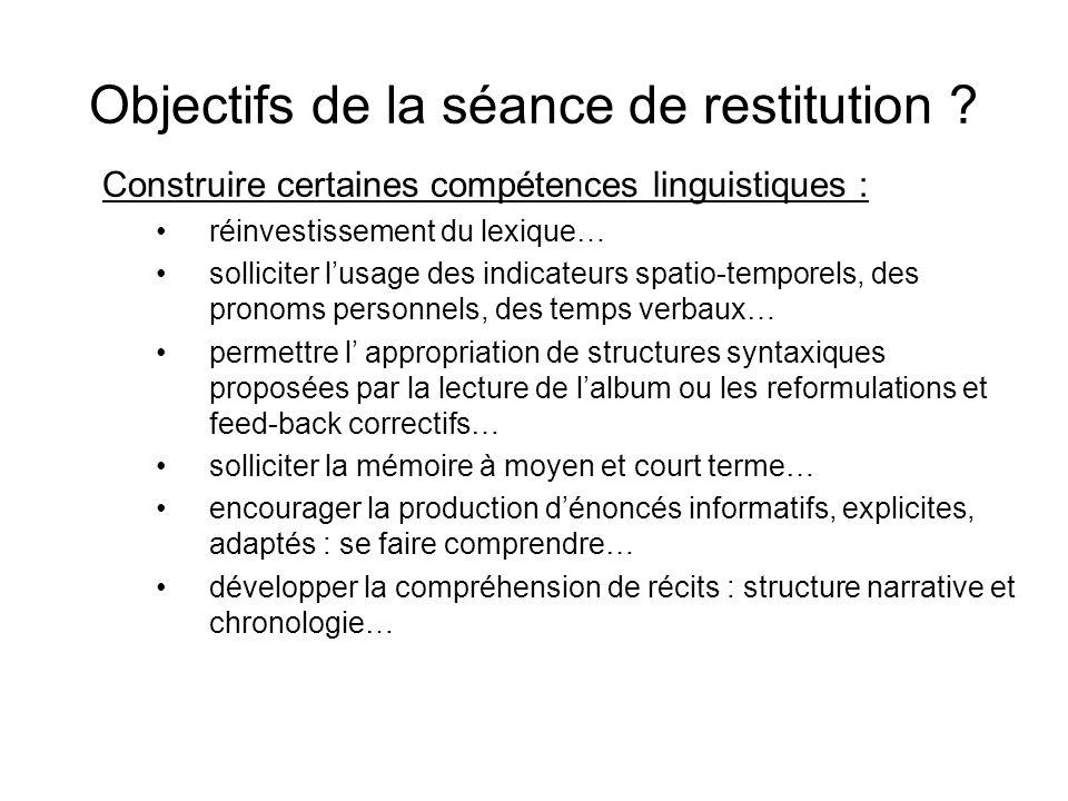 Objectifs de la séance de restitution .