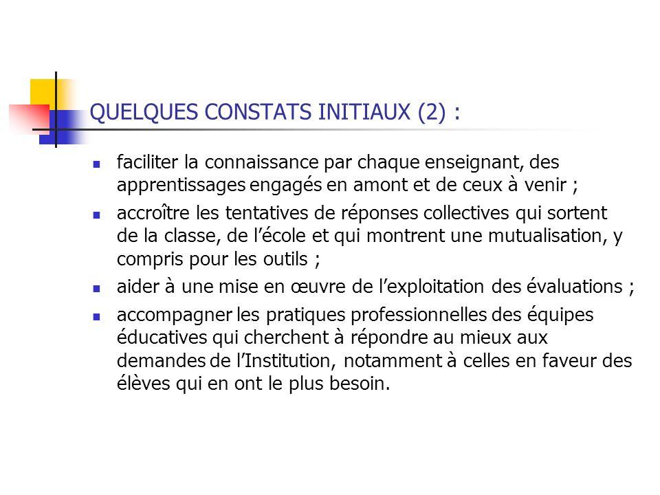 QUELQUES CONSTATS INITIAUX (2) : faciliter la connaissance par chaque enseignant, des apprentissages engagés en amont et de ceux à venir ; accroître l