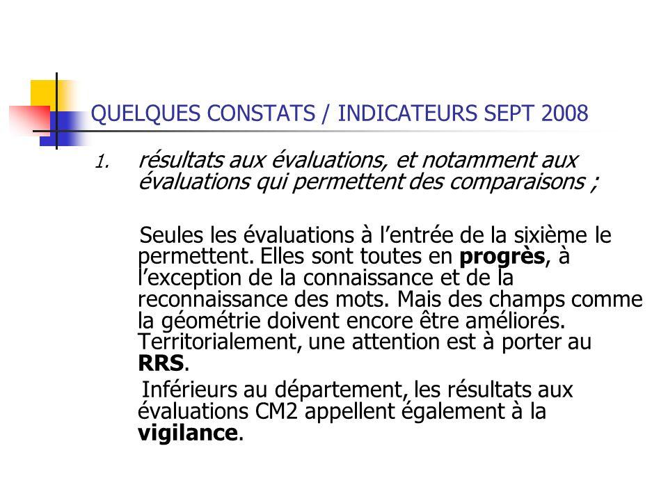 QUELQUES CONSTATS / INDICATEURS SEPT 2008 1. résultats aux évaluations, et notamment aux évaluations qui permettent des comparaisons ; Seules les éval