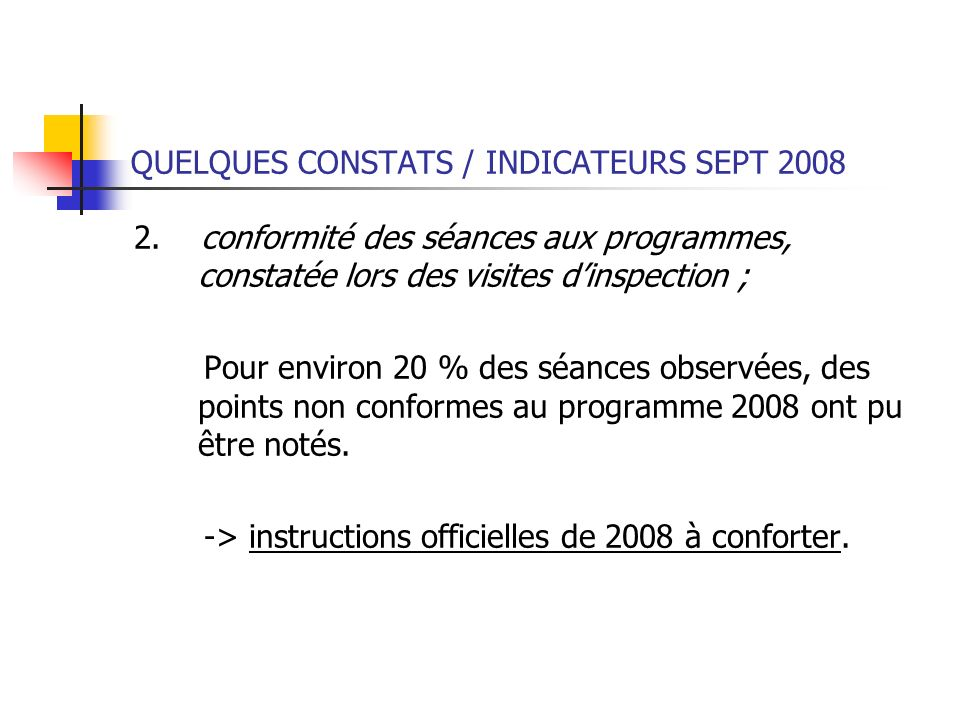 QUELQUES CONSTATS / INDICATEURS SEPT 2008 2. conformité des séances aux programmes, constatée lors des visites dinspection ; Pour environ 20 % des séa