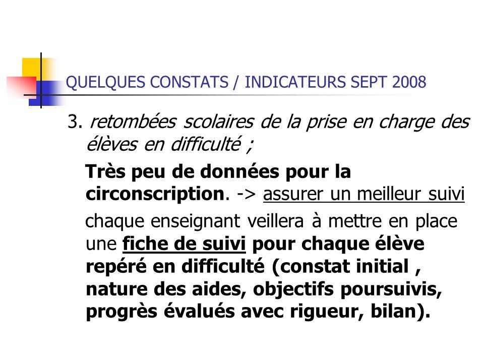 QUELQUES CONSTATS / INDICATEURS SEPT 2008 3. retombées scolaires de la prise en charge des élèves en difficulté ; Très peu de données pour la circonsc