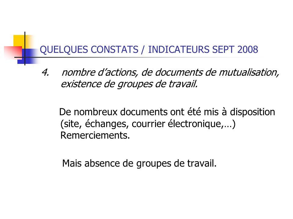QUELQUES CONSTATS / INDICATEURS SEPT 2008 4. nombre dactions, de documents de mutualisation, existence de groupes de travail. De nombreux documents on