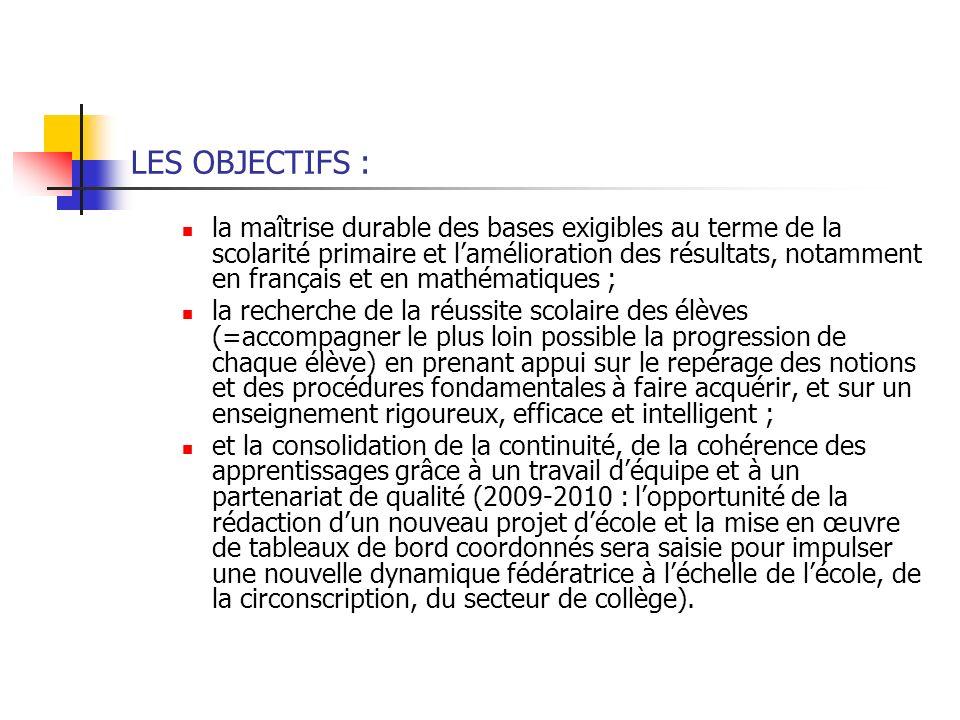 LES OBJECTIFS : la maîtrise durable des bases exigibles au terme de la scolarité primaire et lamélioration des résultats, notamment en français et en