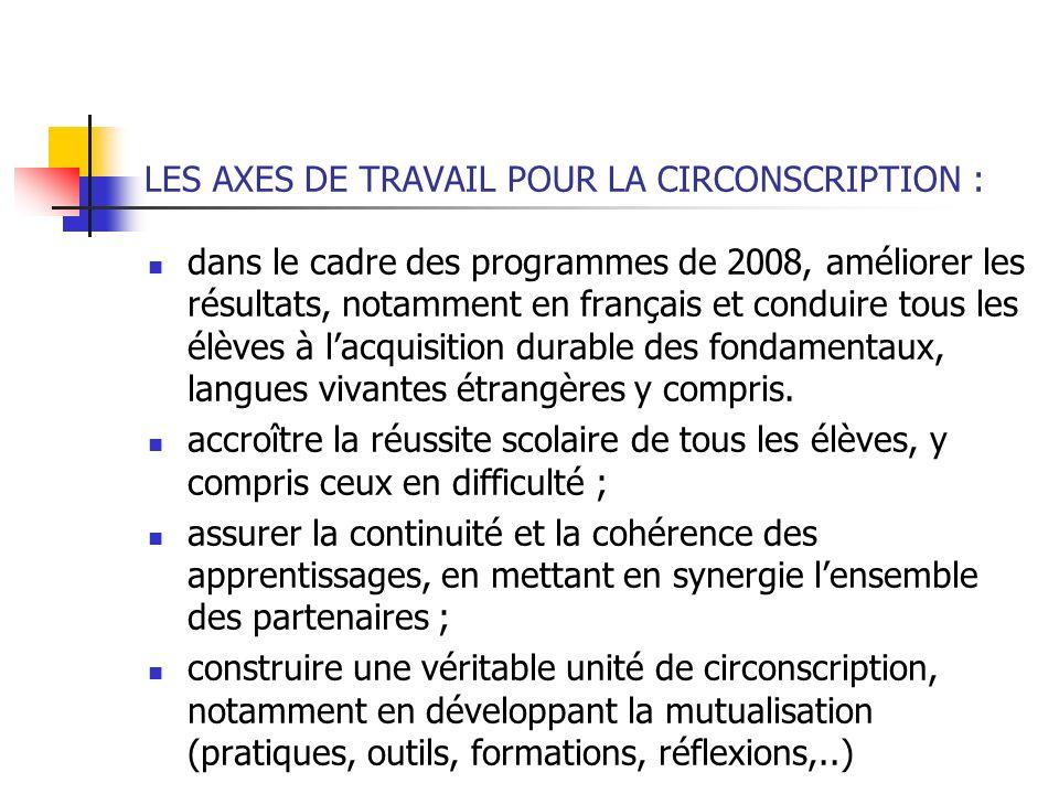 LES AXES DE TRAVAIL POUR LA CIRCONSCRIPTION : dans le cadre des programmes de 2008, améliorer les résultats, notamment en français et conduire tous le