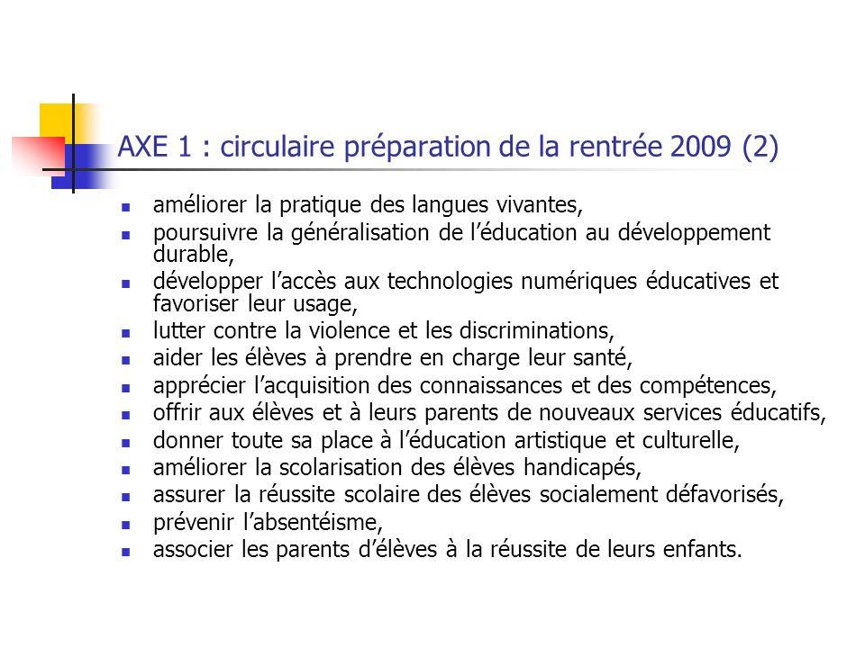 AXE 1 : circulaire préparation de la rentrée 2009 (2) améliorer la pratique des langues vivantes, poursuivre la généralisation de léducation au dévelo