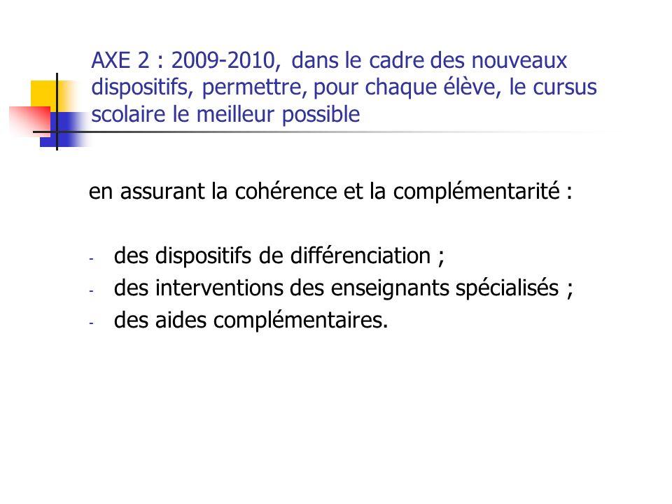 AXE 2 : 2009-2010, dans le cadre des nouveaux dispositifs, permettre, pour chaque élève, le cursus scolaire le meilleur possible en assurant la cohére