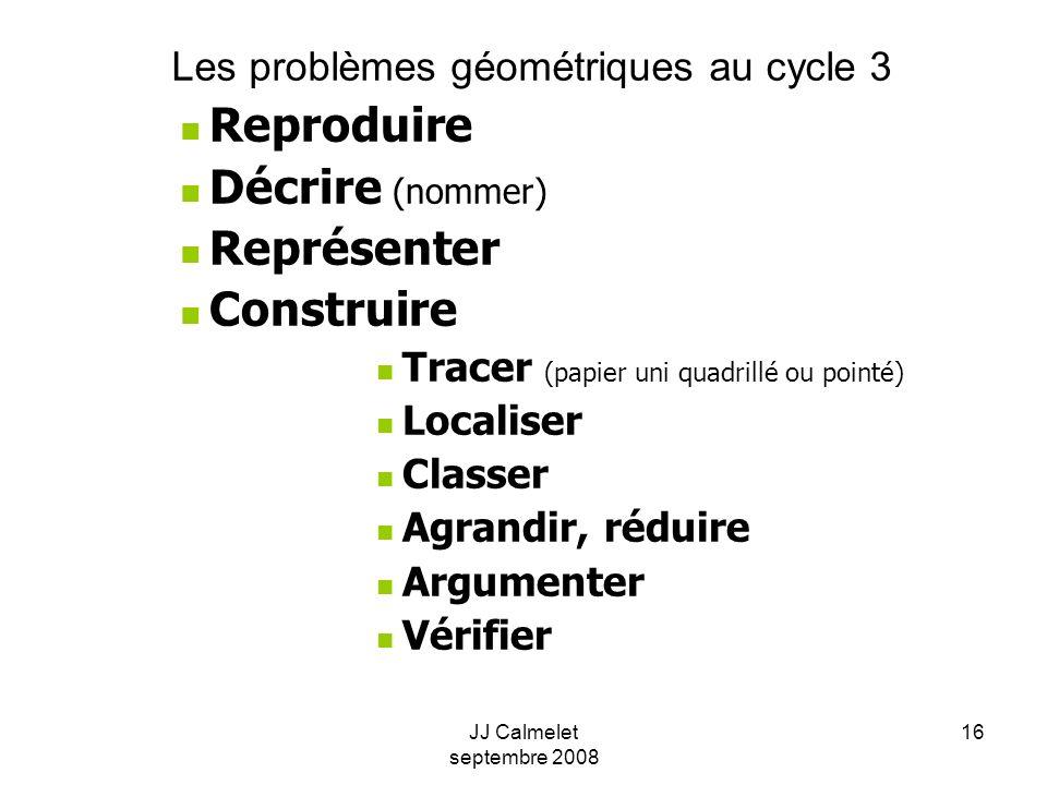 JJ Calmelet septembre 2008 16 Les problèmes géométriques au cycle 3 Reproduire Décrire (nommer) Représenter Construire Tracer (papier uni quadrillé ou pointé) Localiser Classer Agrandir, réduire Argumenter Vérifier
