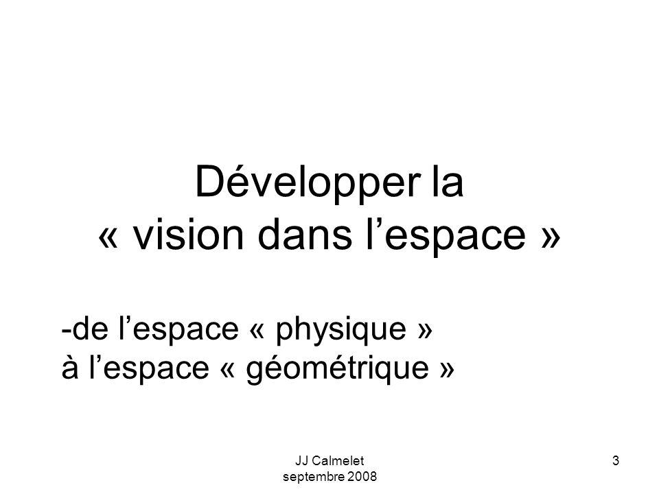 JJ Calmelet septembre 2008 3 Développer la « vision dans lespace » -de lespace « physique » à lespace « géométrique »