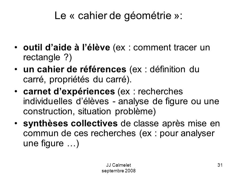 JJ Calmelet septembre 2008 31 Le « cahier de géométrie »: outil daide à lélève (ex : comment tracer un rectangle ) un cahier de références (ex : définition du carré, propriétés du carré).