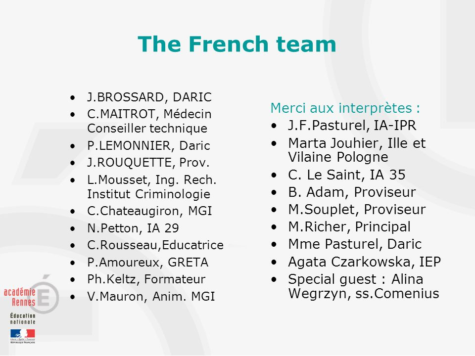The French team J.BROSSARD, DARIC C.MAITROT, Médecin Conseiller technique P.LEMONNIER, Daric J.ROUQUETTE, Prov. L.Mousset, Ing. Rech. Institut Crimino