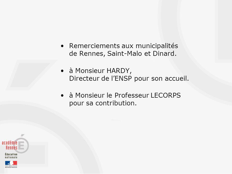 Remerciements aux municipalités de Rennes, Saint-Malo et Dinard.