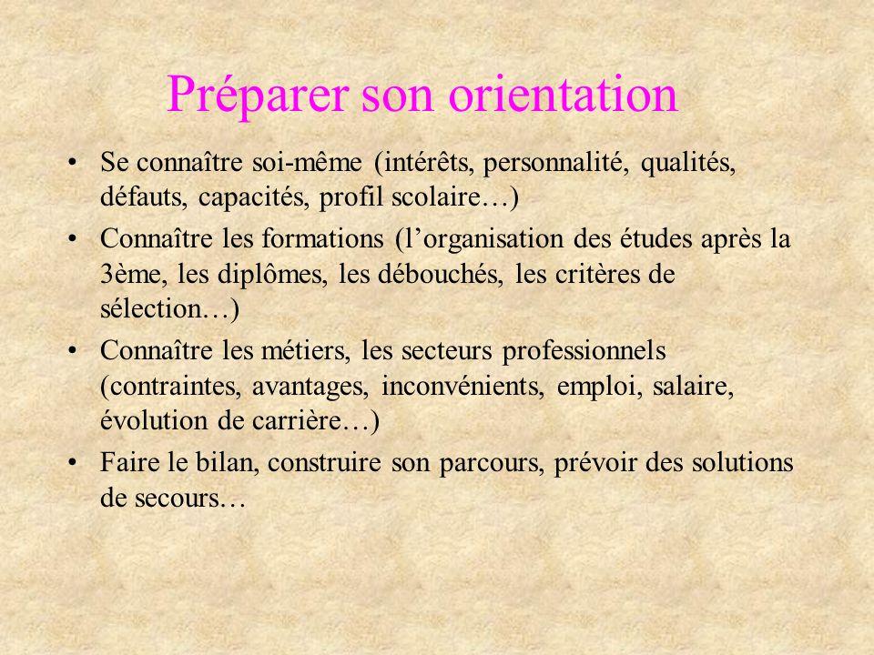 Préparer son orientation Se connaître soi-même (intérêts, personnalité, qualités, défauts, capacités, profil scolaire…) Connaître les formations (lorg