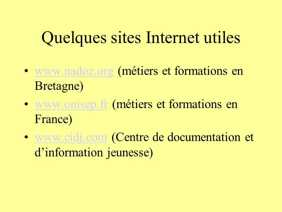 Quelques sites Internet utiles www.nadoz.org (métiers et formations en Bretagne)www.nadoz.org www.onisep.fr (métiers et formations en France)www.onise