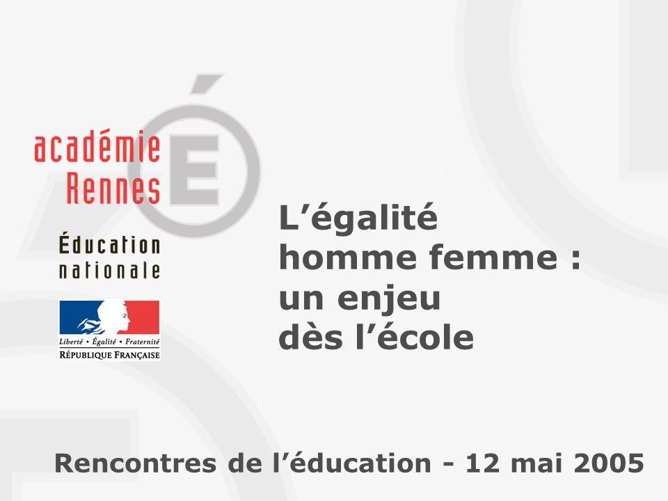 Légalité homme femme : un enjeu dès lécole Rencontres de léducation - 12 mai 2005