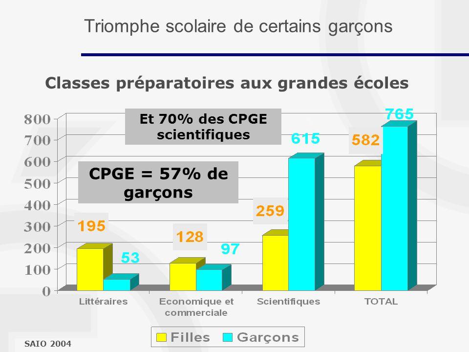 Classes préparatoires aux grandes écoles SAIO 2004 CPGE = 57% de garçons Et 70% des CPGE scientifiques Triomphe scolaire de certains garçons