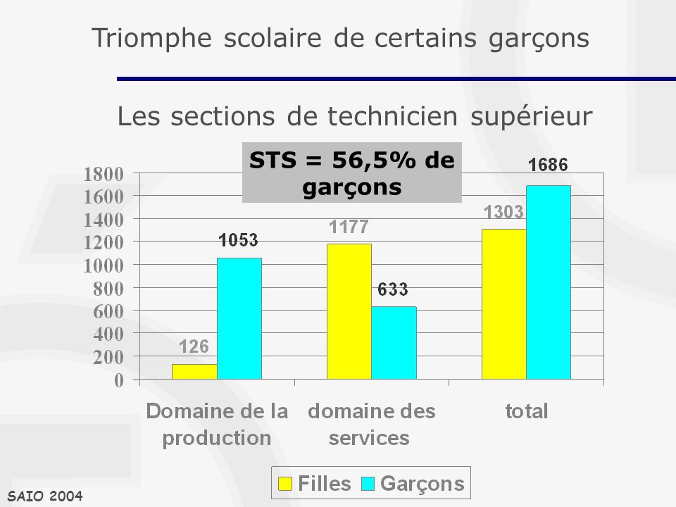Les sections de technicien supérieur SAIO 2004 STS = 56,5% de garçons Triomphe scolaire de certains garçons