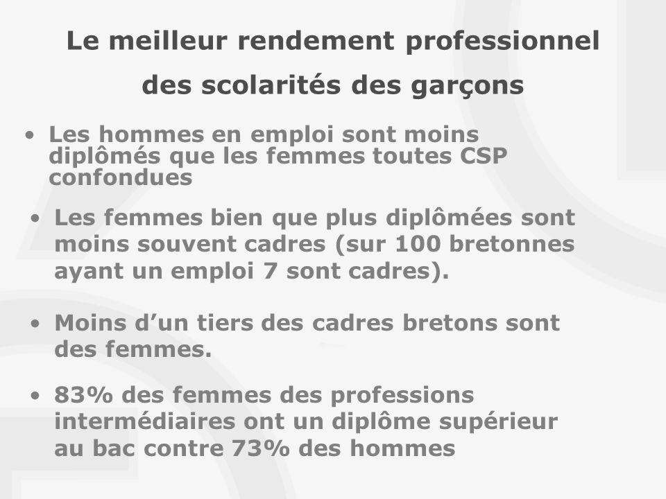 Le meilleur rendement professionnel des scolarités des garçons Les hommes en emploi sont moins diplômés que les femmes toutes CSP confondues Moins dun