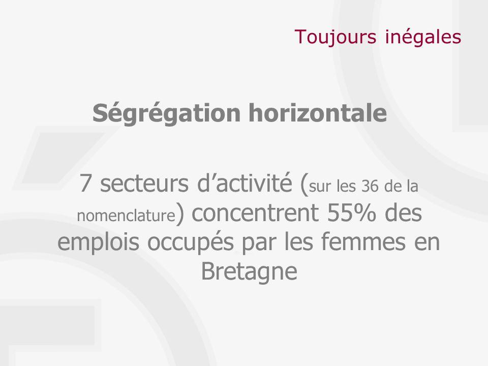 Toujours inégales Ségrégation horizontale 7 secteurs dactivité ( sur les 36 de la nomenclature ) concentrent 55% des emplois occupés par les femmes en Bretagne