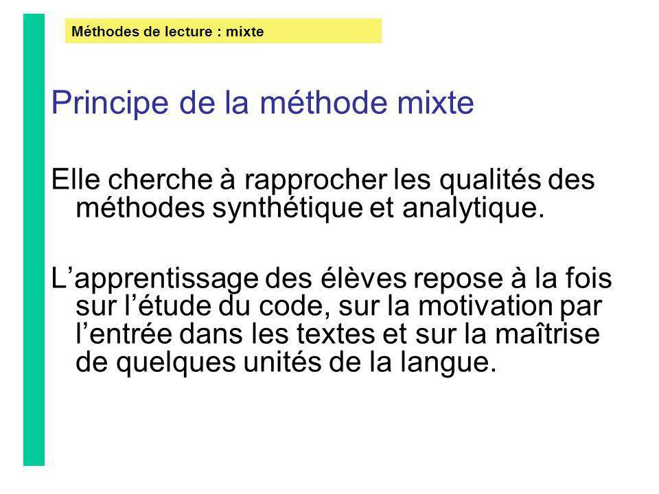 Principe de la méthode mixte Elle cherche à rapprocher les qualités des méthodes synthétique et analytique. Lapprentissage des élèves repose à la fois