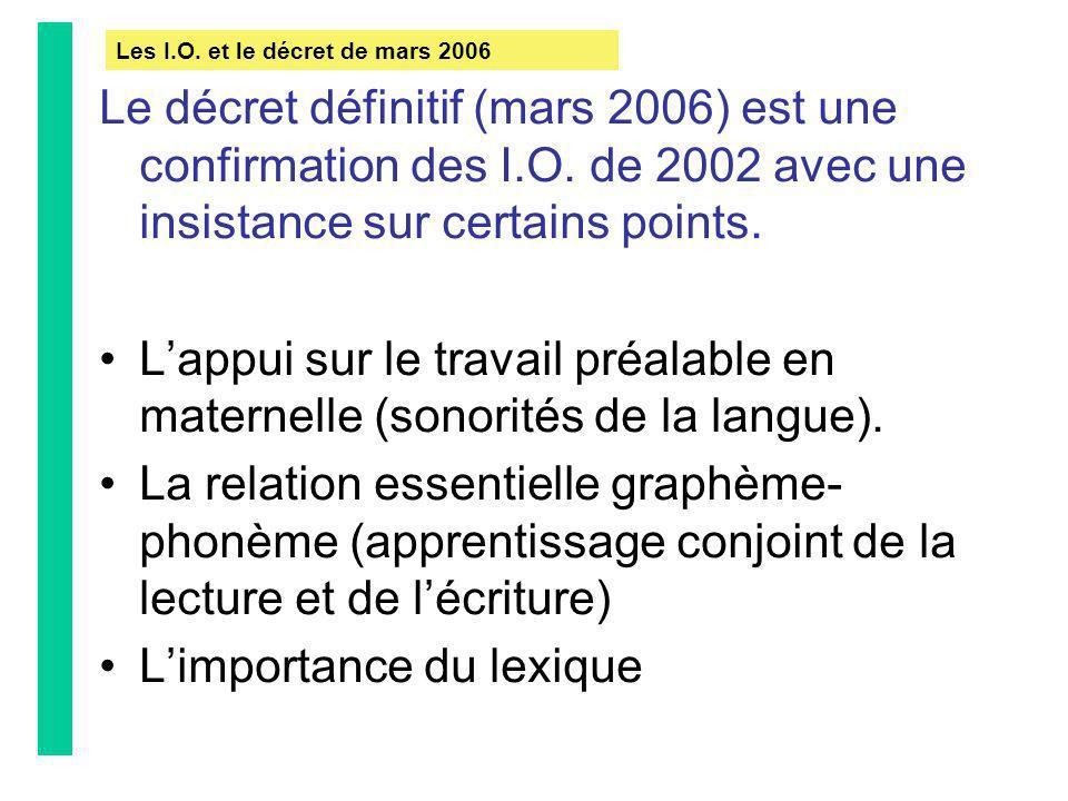 Le décret définitif (mars 2006) est une confirmation des I.O. de 2002 avec une insistance sur certains points. Lappui sur le travail préalable en mate