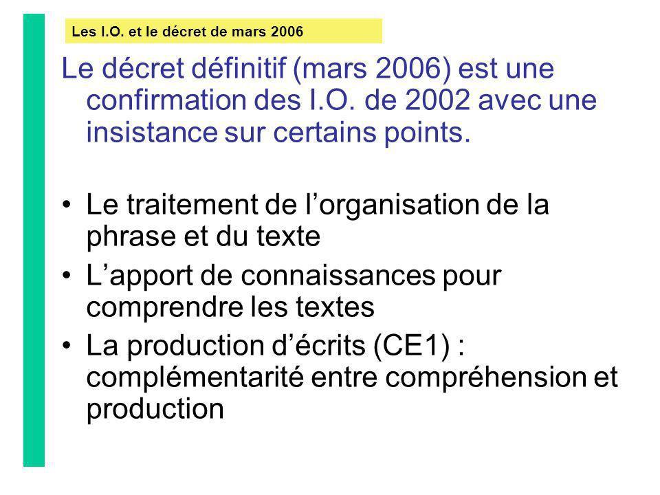 Le décret définitif (mars 2006) est une confirmation des I.O. de 2002 avec une insistance sur certains points. Le traitement de lorganisation de la ph