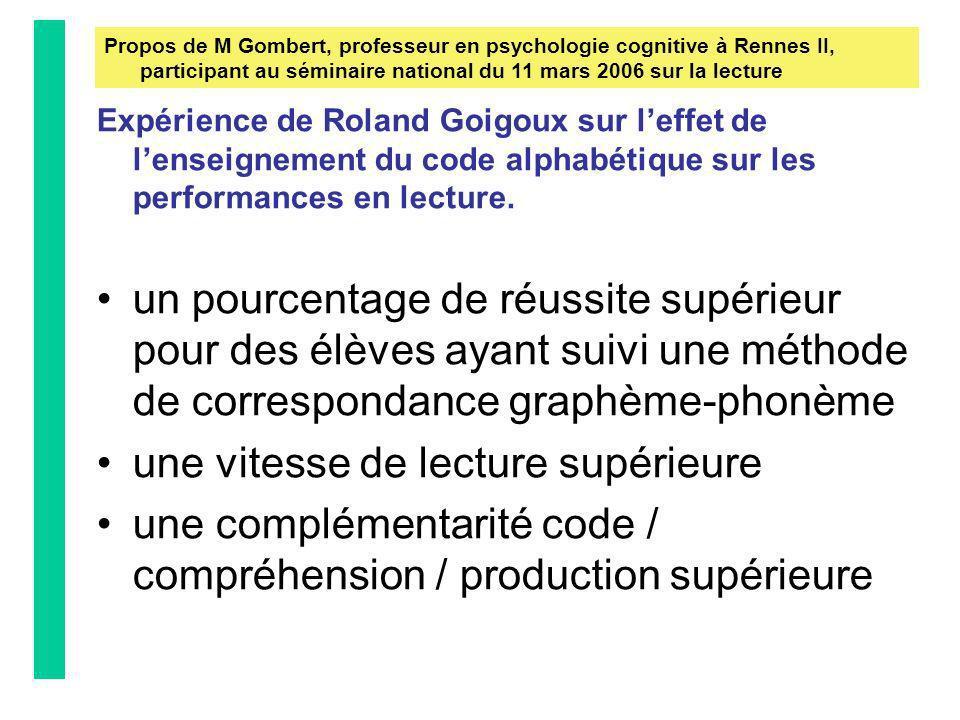 Expérience de Roland Goigoux sur leffet de lenseignement du code alphabétique sur les performances en lecture. un pourcentage de réussite supérieur po