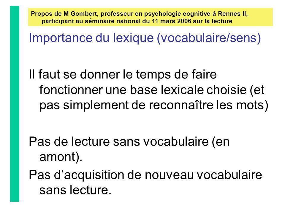 Importance de la syntaxe (liens) La compréhension de la phrase La syntaxe est une aide à la compréhension de lécrit Propos de M Gombert, professeur en psychologie cognitive à Rennes II, participant au séminaire national du 11 mars 2006 sur la lecture