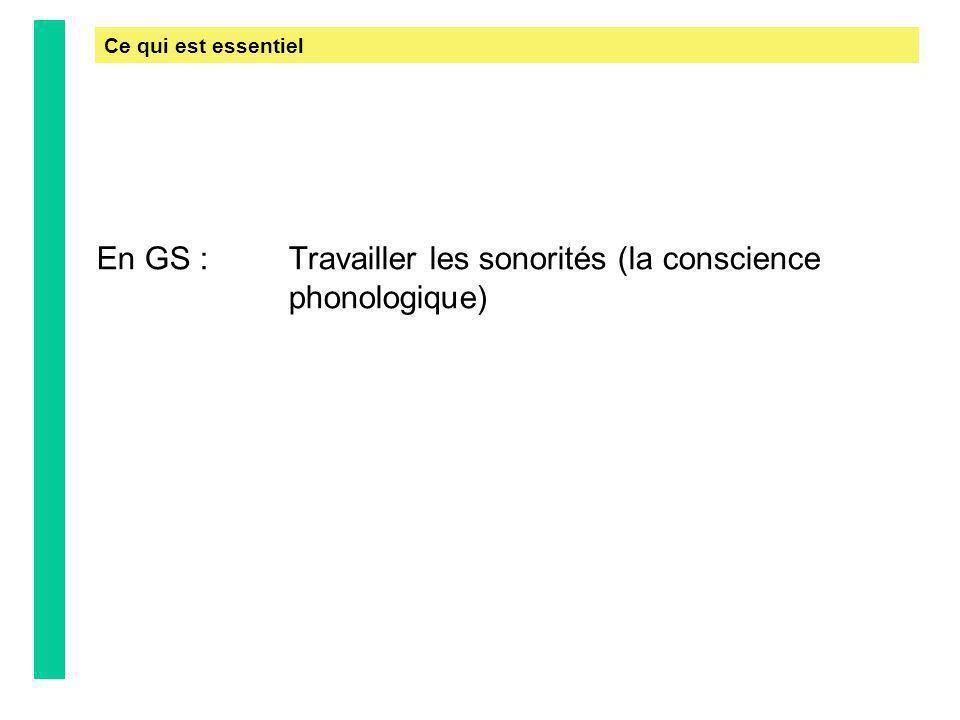 En GS : Travailler les sonorités (la conscience phonologique) Ce qui est essentiel