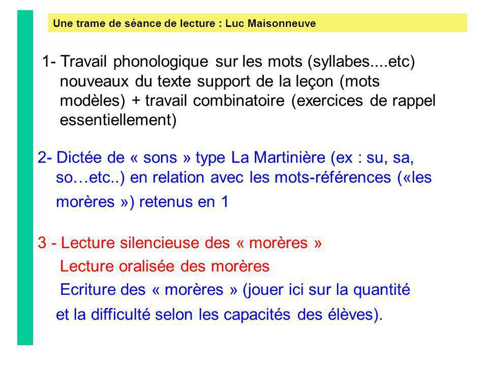1- Travail phonologique sur les mots (syllabes....etc) nouveaux du texte support de la leçon (mots modèles) + travail combinatoire (exercices de rappe