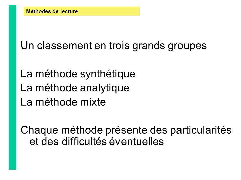 Un classement en trois grands groupes La méthode synthétique La méthode analytique La méthode mixte Chaque méthode présente des particularités et des