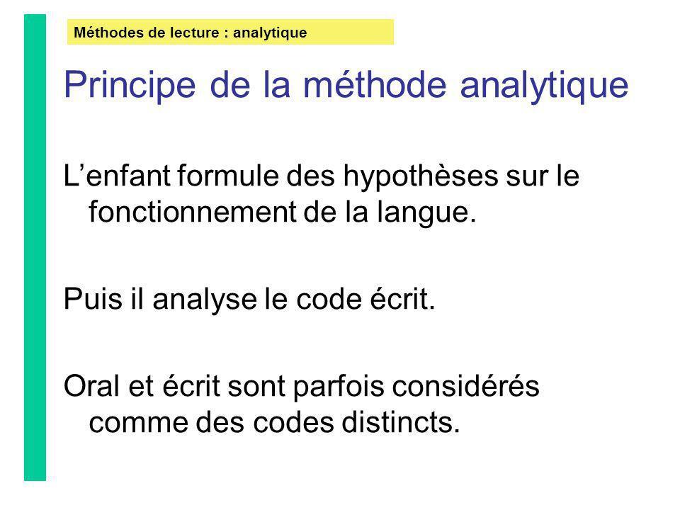 Méthodes de lecture : analytique Principe de la méthode analytique Lenfant formule des hypothèses sur le fonctionnement de la langue. Puis il analyse