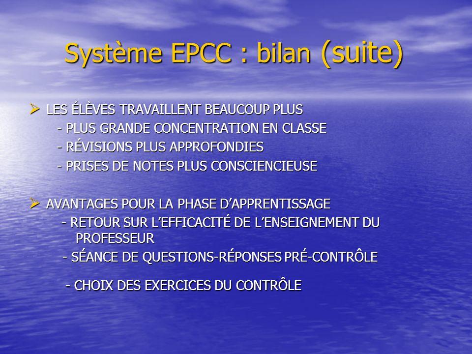Système EPCC : bilan (suite) Système EPCC : bilan (suite) LES ÉLÈVES TRAVAILLENT BEAUCOUP PLUS LES ÉLÈVES TRAVAILLENT BEAUCOUP PLUS - PLUS GRANDE CONCENTRATION EN CLASSE - PLUS GRANDE CONCENTRATION EN CLASSE - RÉVISIONS PLUS APPROFONDIES - RÉVISIONS PLUS APPROFONDIES - PRISES DE NOTES PLUS CONSCIENCIEUSE - PRISES DE NOTES PLUS CONSCIENCIEUSE AVANTAGES POUR LA PHASE DAPPRENTISSAGE AVANTAGES POUR LA PHASE DAPPRENTISSAGE - RETOUR SUR LEFFICACITÉ DE LENSEIGNEMENT DU PROFESSEUR - RETOUR SUR LEFFICACITÉ DE LENSEIGNEMENT DU PROFESSEUR - SÉANCE DE QUESTIONS-RÉPONSES PRÉ-CONTRÔLE - SÉANCE DE QUESTIONS-RÉPONSES PRÉ-CONTRÔLE - CHOIX DES EXERCICES DU CONTRÔLE - CHOIX DES EXERCICES DU CONTRÔLE