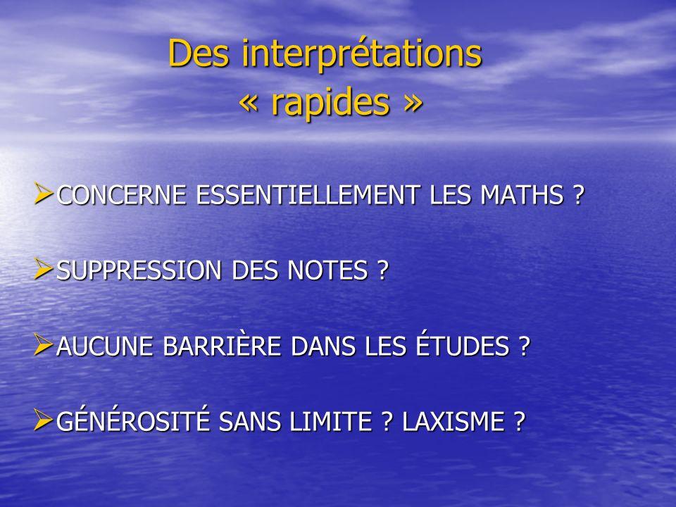 Des interprétations « rapides » Des interprétations « rapides » CONCERNE ESSENTIELLEMENT LES MATHS ? CONCERNE ESSENTIELLEMENT LES MATHS ? SUPPRESSION