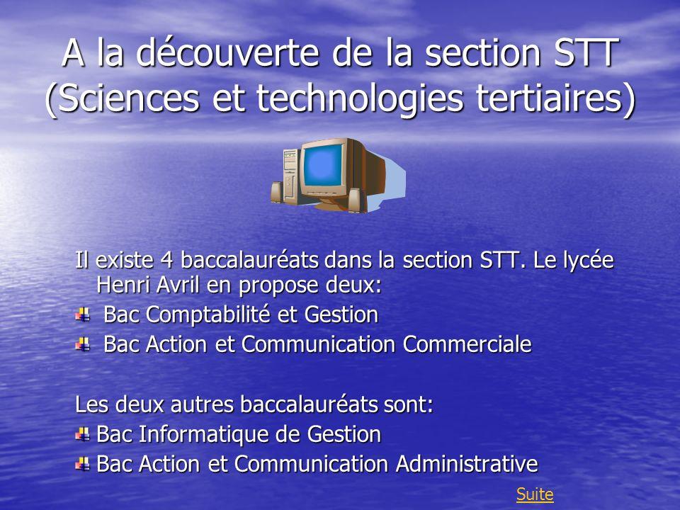 A la découverte de la section STT (Sciences et technologies tertiaires) Il existe 4 baccalauréats dans la section STT. Le lycée Henri Avril en propose