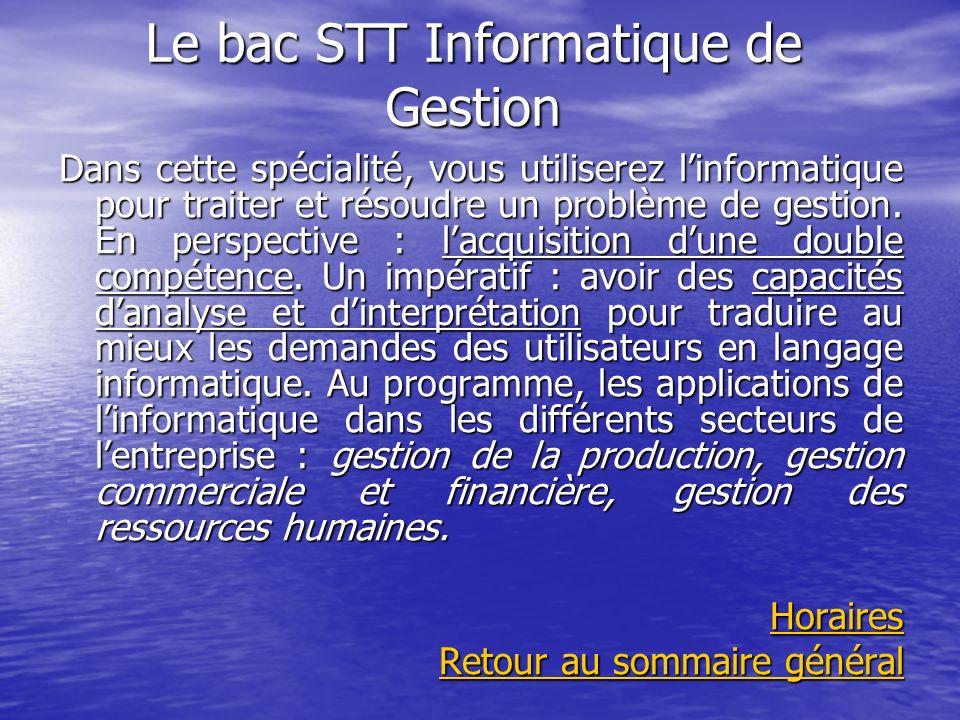 Le bac STT Informatique de Gestion Dans cette spécialité, vous utiliserez linformatique pour traiter et résoudre un problème de gestion. En perspectiv