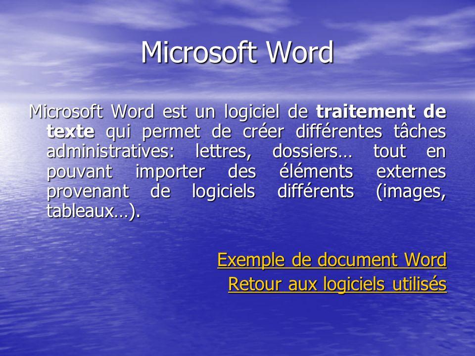 Microsoft Word Microsoft Word est un logiciel de traitement de texte qui permet de créer différentes tâches administratives: lettres, dossiers… tout e