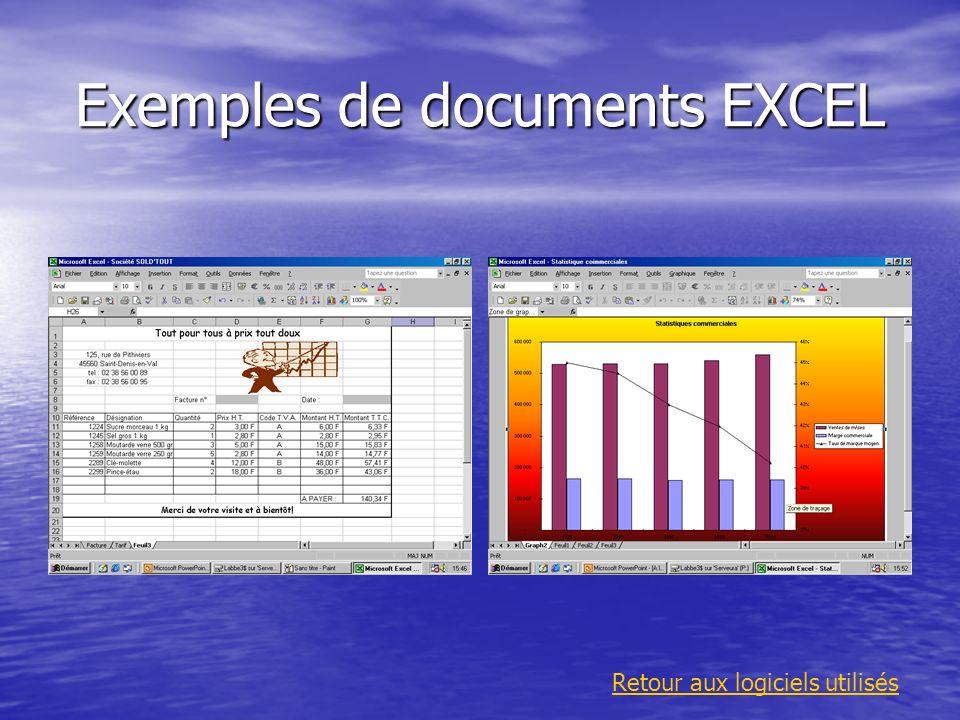 Exemples de documents EXCEL Retour aux logiciels utilisés